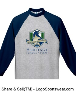 Youth 3/4 Sleeve Raglan T-Shirt (Navy) Design Zoom