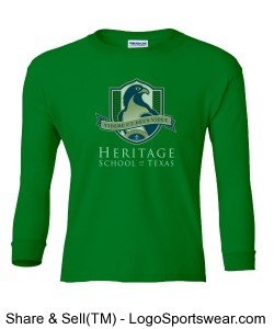 Youth Long-Sleeve T-Shirt (Green) Design Zoom